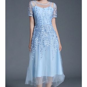 NWT Metisu Embroidered Vines Tulle Dress